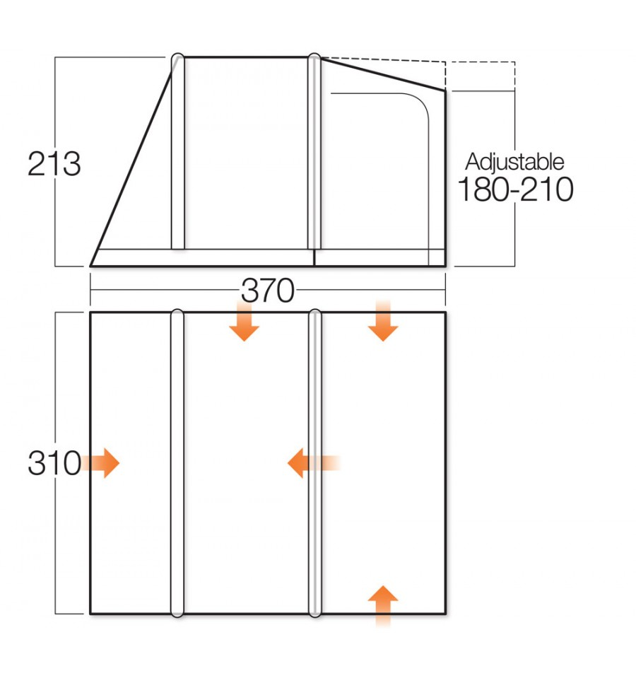 Vango Kela III Low Airbeam Drive Away Awning Layout